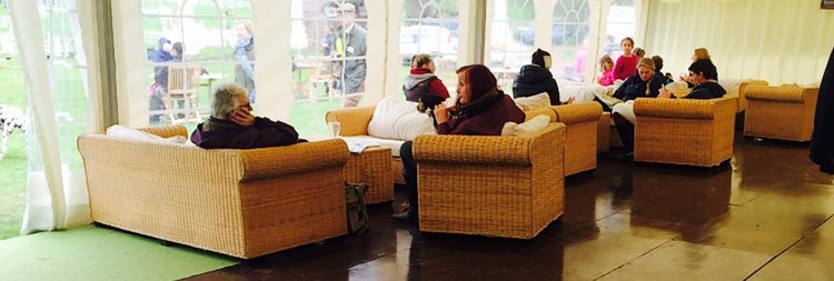 Comfy armchairs in The Tack Room Bar, Bicton Arena