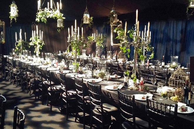 black and white wedding breakfast