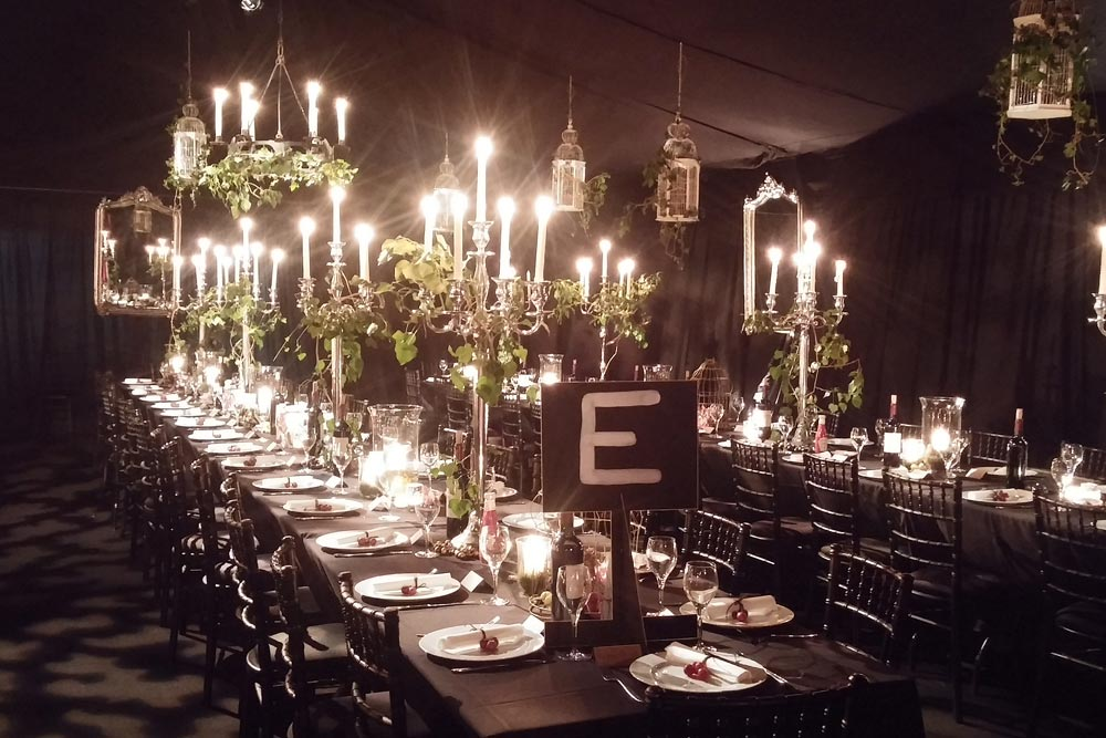 stylish black and silver dining arrangements by Wiltshire events organiser Marlborough Events