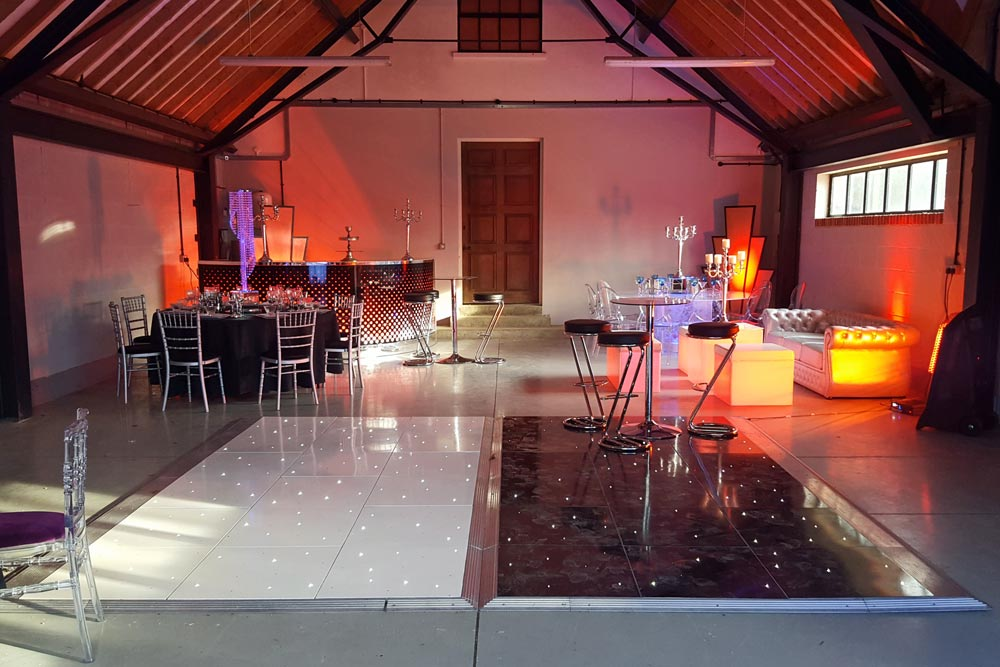 dance floor in art deco dressed barn by wiltshire party organiser marlborough events