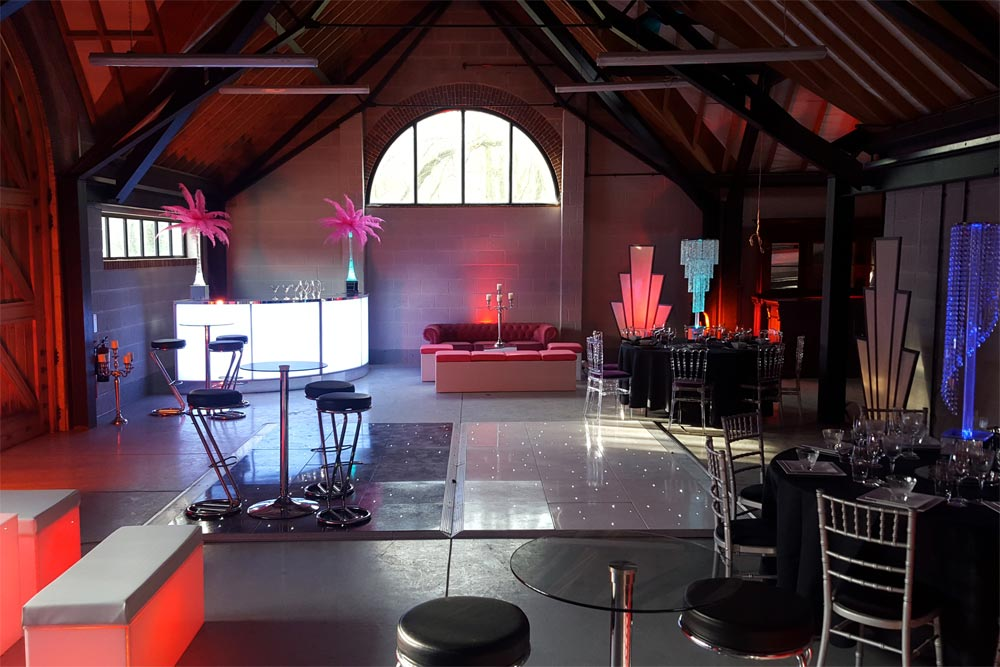 barn dressed for art deco themed party by marlborough events