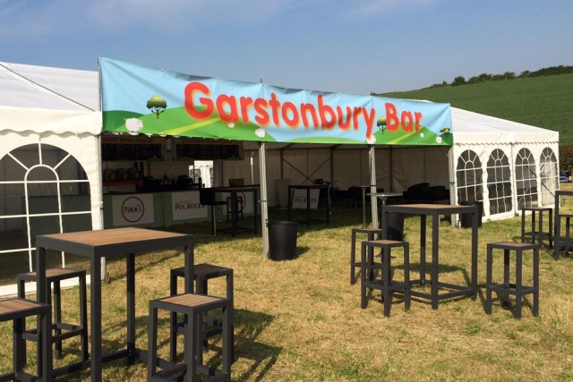 open air bar and catering at music festival by marlborough events