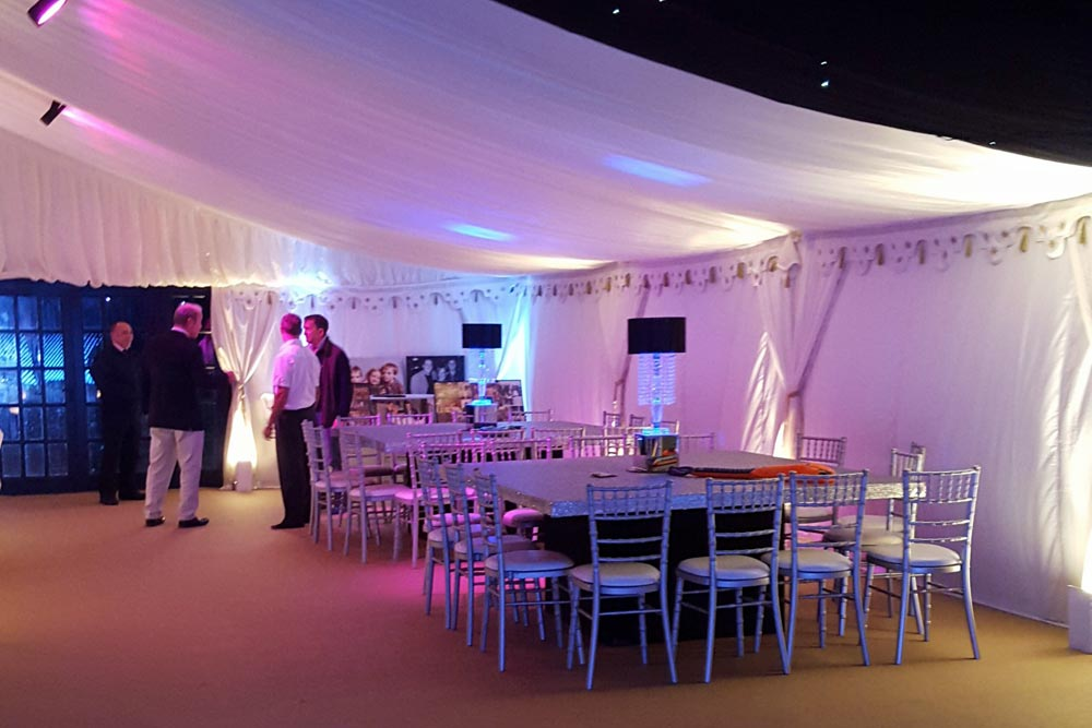 chillout and seating area in marquee by Marlborough events
