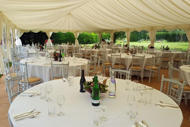 marquee prepared by Wiltshire events organiser Marlborough Events